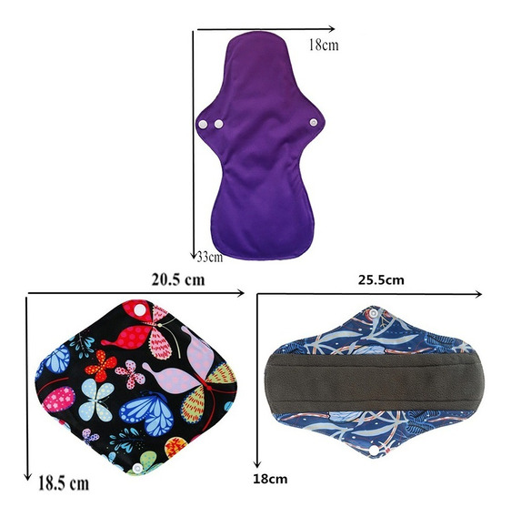 6 Toalla Femenina Menstrual Ecológica Tela Diferente Talla W