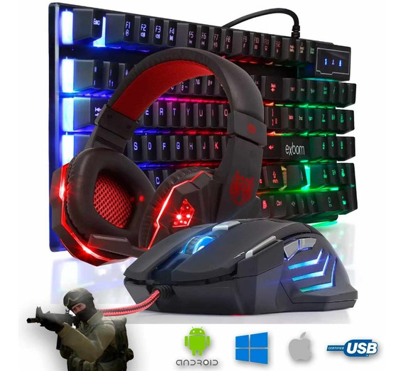 Kit Gamer Pc Barato Teclado Semi-mecânico + Mouse + Headset + Brinde Surpresa