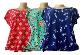 Kit 3 Blusa Feminina Plus Size Liganete Confortável M Ao G7