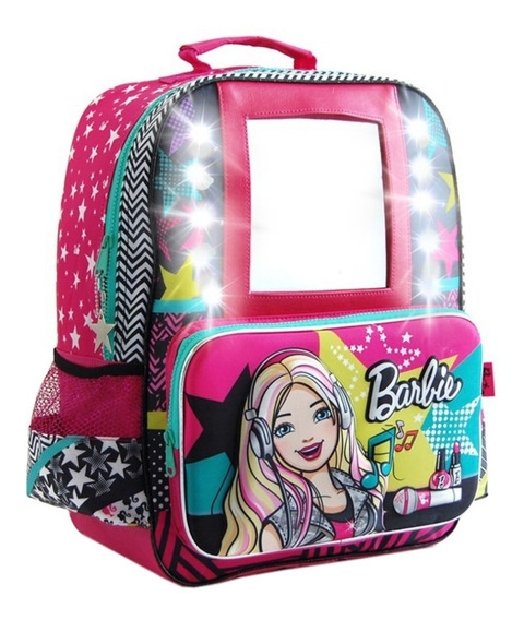 Mochila Espalda Grande 16 PuLG Barbie Con Espejo Y Luz Tv