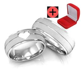 Par Alianças Compromisso Namoro 6mm Prata Barata Coração