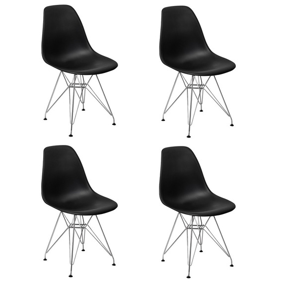 Conjunto 4 Cadeiras Charles Eames Eiffel Base Metal Design