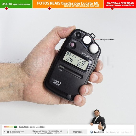 Fotômetro L308s Sekonic Impecável Com Lumidisc + Capas | 2a