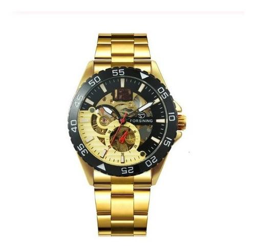 Relógio Masculino Mecânico Automático Luxo Dourado Original