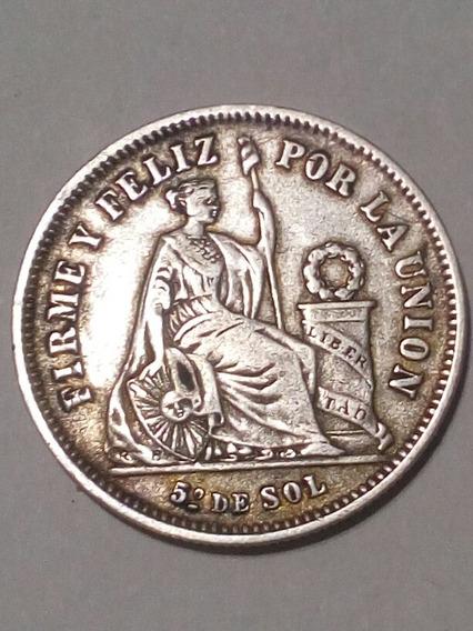 1/5 De Sol Peru 1869 Y.b Plata