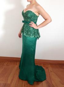 Vestido De Festa Madrinha Verde Tomara Que Caia Renda Peplum