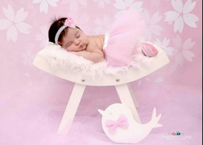 Banco Curvado Rústico Branco Newborn E Bebê