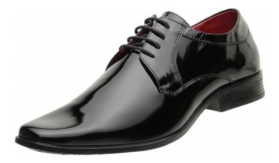 Sapato Social Masculino Couro Verniz Preto Luxo