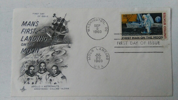 Sobre Carta Hombre En La Luna Sello Estampilla 1969 Usa
