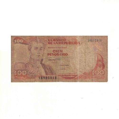 Imagen 1 de 2 de Billete De 100 Pesos Oro De Colombia Con Envio Gratuito