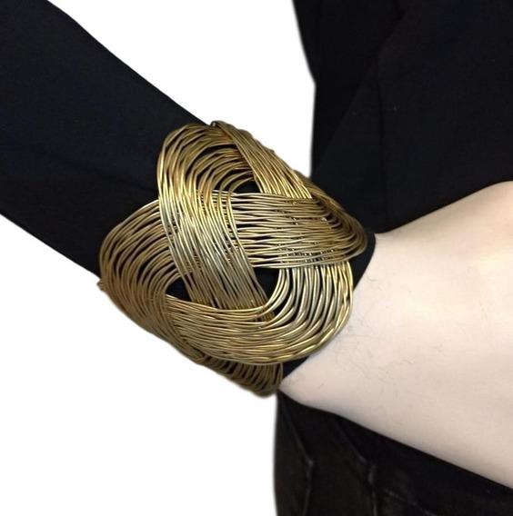Bracelete Pulseira Largo Escrava Luxo Dourada Egito Turco
