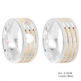 Aliança De Prata 950 Compromisso Namoro Noivado Ouro- Al58