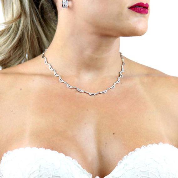 Chocker Prata Cravejada Em Zircônia Branca - Cl020094