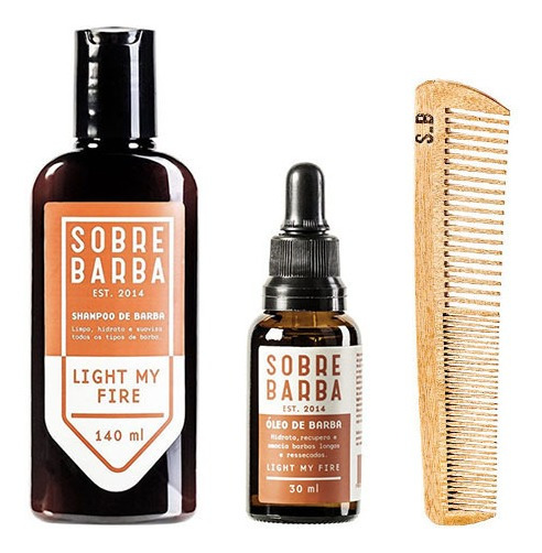 Kit Shampoo, Óleo E Pente De Barba Light My Fire Sobrebarba