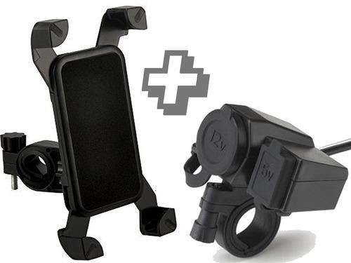 Soporte Celular Moto + Adaptador Toma 12v Usb Cargador 2amp