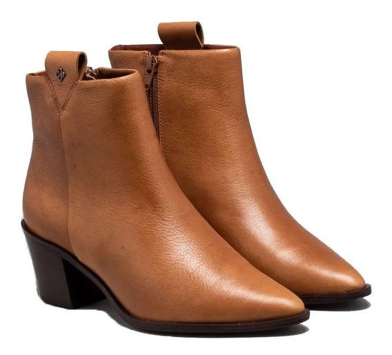 Ankle Boot Capodarte Cano Curto Bico Fino Couro