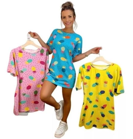 Vestido Camisao Abacaxi Moda Feminino Blusao Roupa Barata