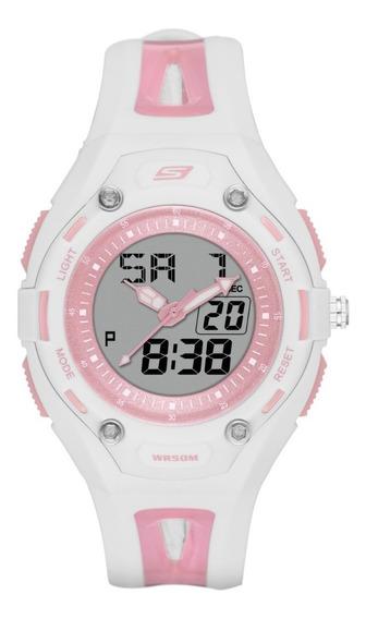Reloj Dama Skechers Liberty Sr2053 Color Blanco Y Rosa Claro