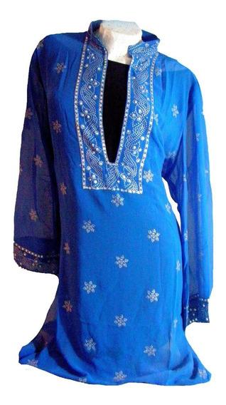 Tunica Vestido Azul Atrapante Y Plata Hindu