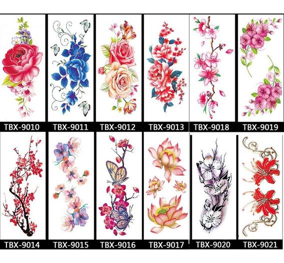 12 Sheets Diferente Flores Temporário Tatuagem , Deslumbrant