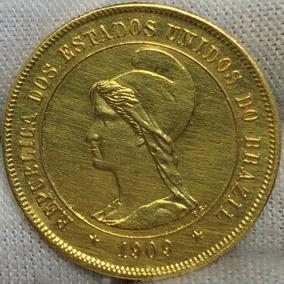 Brasil Moeda Ouro 10.000 Réis 1909 República Linda!!!