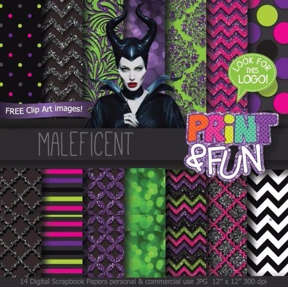 Kit Imprimible Malefica 14 Fondos 2 Clipart Ver Promo