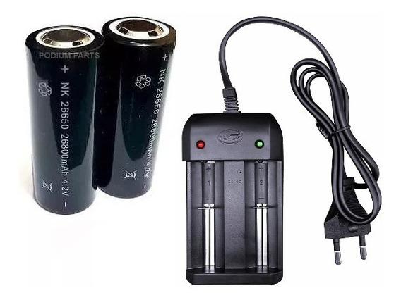 Carregador Duplo + 2 Bateria 26650 26800mah P/ Lanterna X900