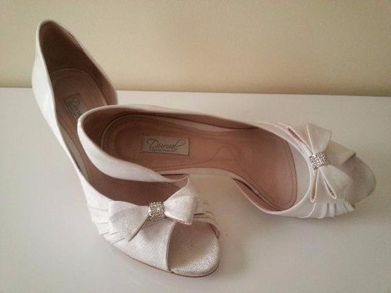 Calçado Feminino Peep Toe Lacinho Para Noiva - Belle Mariée