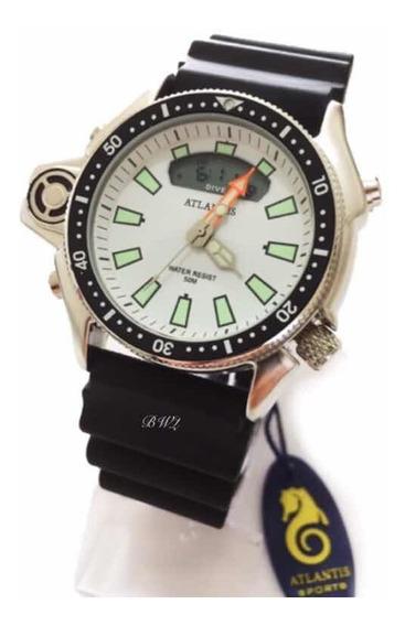 Relógio Atlantis Aqualand Original Serie Prata Branco