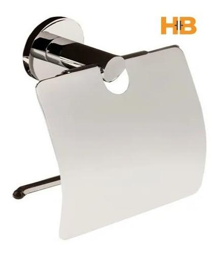 Imagen 1 de 5 de Portarollo De Papel Higiénico Basic Con Tapa Bronce Cromado