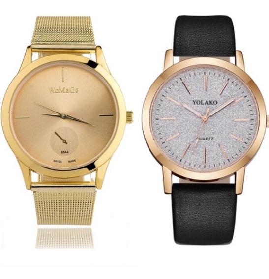 Kit 2 Relógios Feminino Dourado E Preto Com Glitter