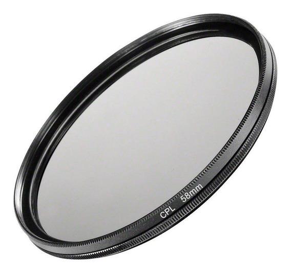 Filtro Cpl Polarizador Polarizante Lentes Dslr Câmeras Fotográficas 58mm Canon, Nikon, Sony, Fuji, Etc. Universal
