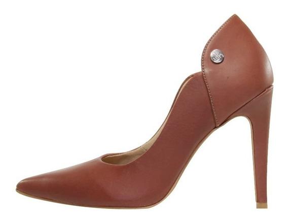 Scarpin Salto Alto Week Shoes Couro Marrom Escuro Marrocos