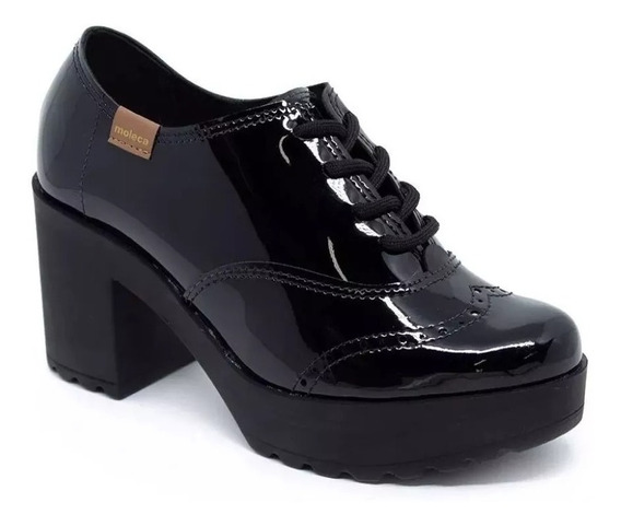 Sapato Oxford Feminino Moleca Salto Grosso Tratorado