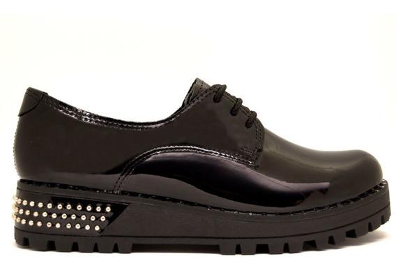Zapatos Abotinados Mujer Charol Negro Con Tachas En La Base