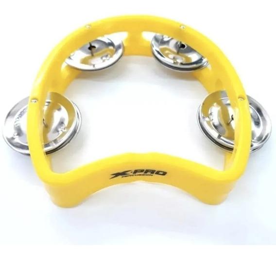Pandeiro Meia Lua Infantil Para Criança Amarelo X-pro