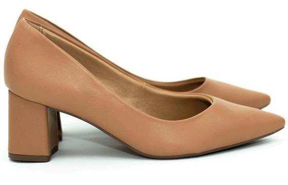 Sapato Mariotta Scarpin Salto Baixo Bico Fino Napa Nude