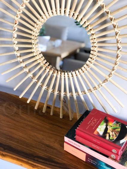 Espejo De Rattan Modelo Sol Importado Vietnam 60 Diametro