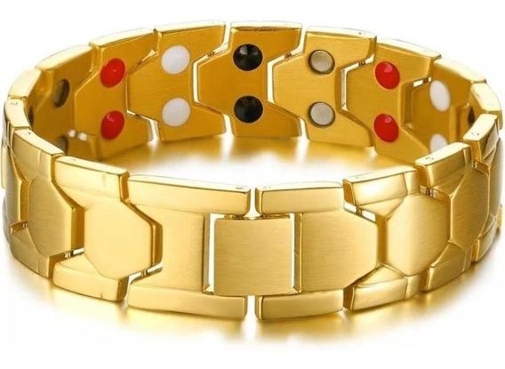 Pulseira Masculina Aço Tungstênio Ouro 18k Magnéticos