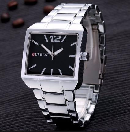 Relógio Curren Quadrado Vintage Moderno Quadrado Casual Inox