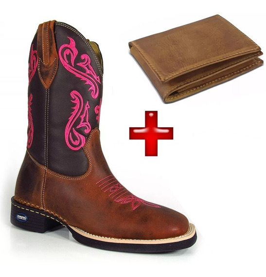 Kit Bota Country Texana Feminina + Carteira Cano Longo