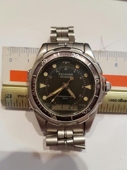 Relógio Technos Skydiver Original Anadigi Fundo Preto