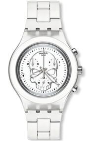 Relógio Swatch Irony Skull Masculino Swiss Original Caveira