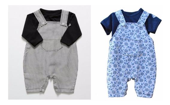 Kit 2 Jardineiras + 2 Camisetas - Bebê - Menino - 4 Peças