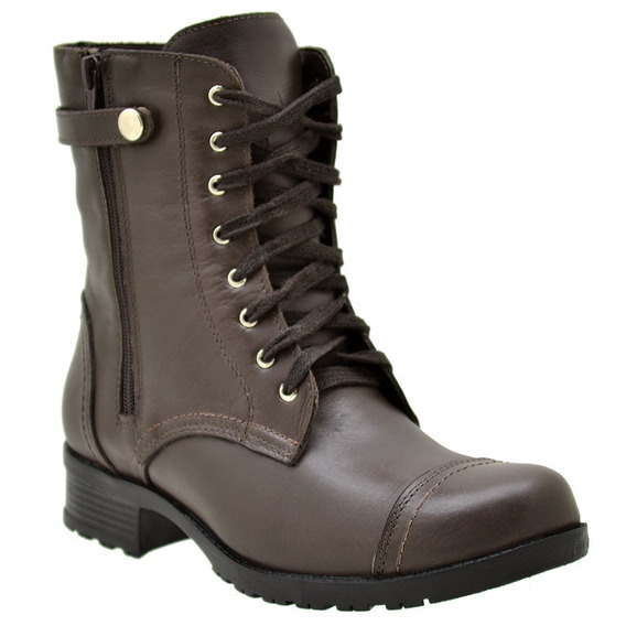 Coturno Feminino Couro Atron Shoes Amarrar
