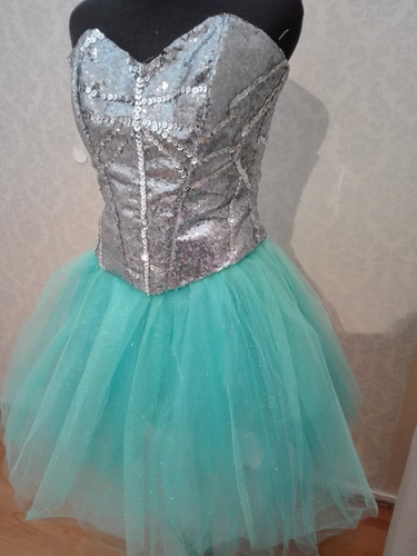 Vestido De 15  Aqua Talles 40.  42.