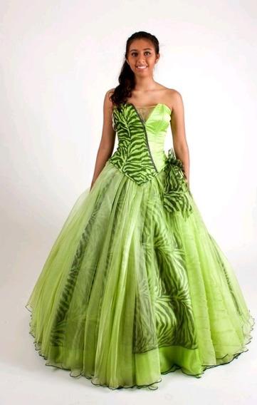 Vestido De Xv Años Color Verde Limon Ropa Bolsas Y