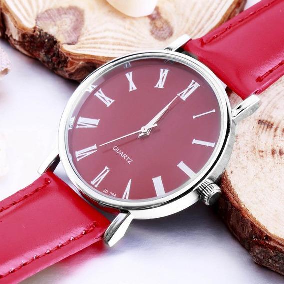 Relógio Femino De Quartzo De Couro Sintético - Vermelho -