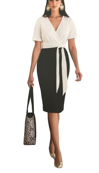 Vestido Dama Cóctel Blanco/negro
