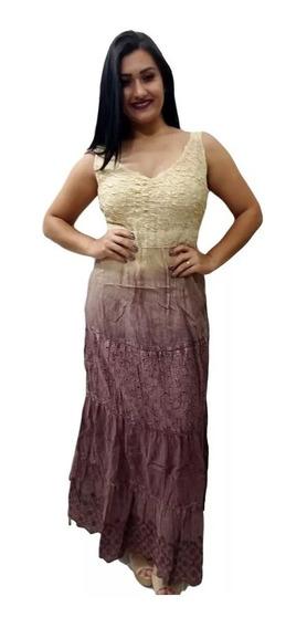 Vestido Indiano Longo Moda Boho Detalhe No Busto 903